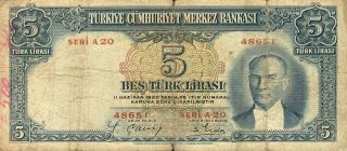 Turkey 5 Lira 1930 Turkish Note (stock 0347) photo