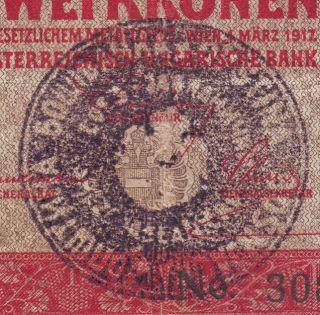 Yugoslavia - Serbia - Austria 2 Kronen Cancelled.  Note photo