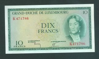 Grand Duche De Luxembourg 10 Francs Banknote 1954 Ef photo