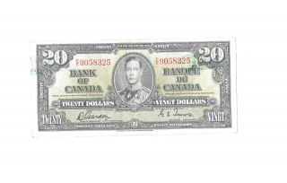 1 - 1937 20$ Bill,  Note,  Canadian Bank Note Co.  Limited Au - photo
