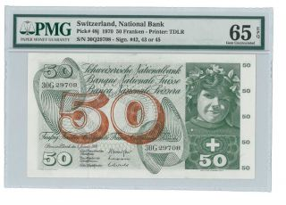 Switzerland Swiss National Bank 1970 Pmg 65 Epq Francs Rare 50 Francs Pick 48j photo