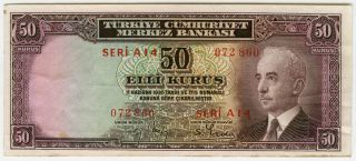 Turkey 1942 - 44 Ww Ii Issue 50 Kurus Very Crisp Xf - Au.  Pick 133. photo