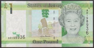 Jersey - 1 Pound 2010 Uncirculated - P 32 Prefix Ad / Dd photo