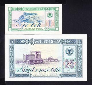 1964 Albania Paper Money,  1,  25leke.  Unc. photo