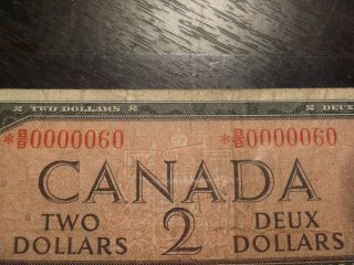 Rare 1954 2 Dollars Bank Of Canada Asterix Low Serial Numbered B/b 0000060 photo