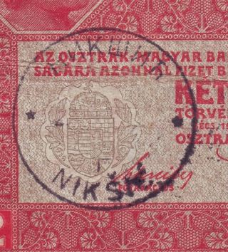 Yugoslavia - Montenegro - Austria 2 Kronen Cancelled.  Note photo