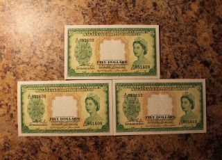 3 Malaya And British Borneo 5 Dollars 1953 P - 2a Consecutive Au - Unc photo