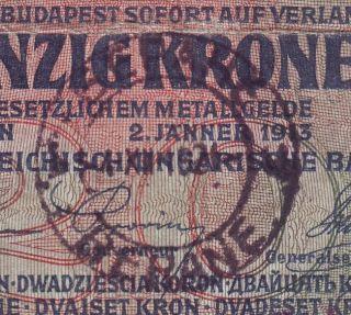 Yugoslavia - Montenegro - Austria 20 Kronen Cancelled.  Note photo