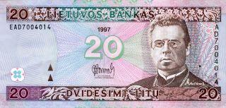 Lithuania 20 Litu 1997 P - 60 Ef Circulated Banknote photo