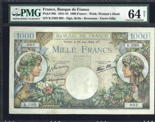 France 1000 Francs - 1941/44 - Pmg 64 Net - Unc photo