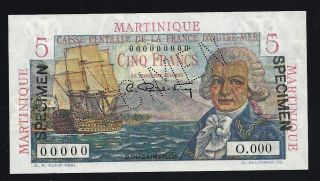 Martinique 5 Francs Specimen Nd (1947 - 1949) Unc photo