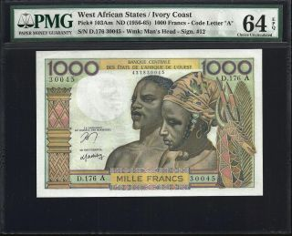 West African States / Ivory Coast 1000 Francs 1956/65 - Pmg 64 Epq - Unc photo