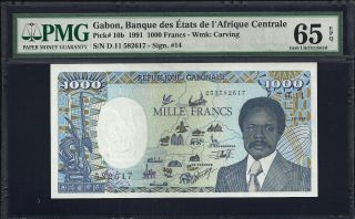 Gabon 1000 (1.  000) Francs 1991 - Pmg 65 Epq - Unc photo