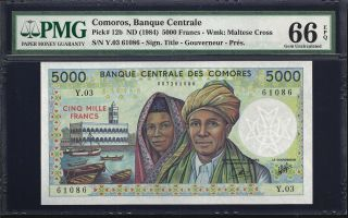 Comoros 5000 Francs 1984 - Pmg 66 Epq - Unc photo
