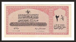 Turkey / Ottoman 2 1/2 Piastre Aau (8,  5,  9 / 10) 1332 (1916 - 17) P.  86 Z 462,  295 photo