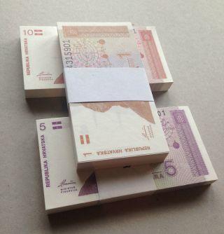 Croatia Bundle,  1,  5,  10 Hrvatskih Dinara X 100 - Unc photo