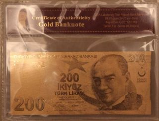 200 Lira Turkey - Gold Banknote With photo