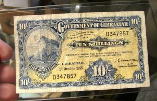 Gibraltar 1958 Ten Shillings Currency Note=======devils Deels photo