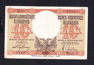 1939 Albania Paper Money,  10leke.  Italy Occupation photo