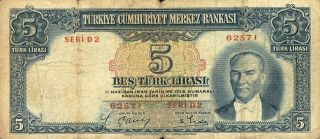 Turkey 5 Lira 1930 Turkish Note (stock 0752) photo