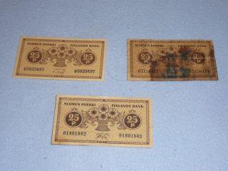 3 Banknote - 25 Penia Finland 1918 photo