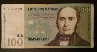 Lithuania 100 Litu 2000 Banknote Simonas Daukantas High Nominal Value photo