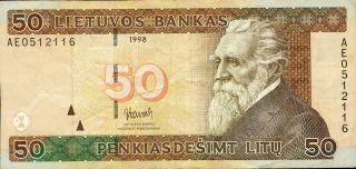Lithuania 50 Litu 1998 P - 61 Vf Circulated Banknote photo