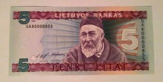 Lithuania P55 Lietuvos Bankas 5 Litai 1993 Unc First Serial Numbers - Gaa0000855 photo