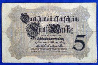 Germany 5 Mark 1914 Bank Note photo