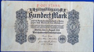 Germany 100 Mark 1922 Bank Note photo