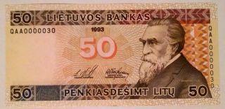 Lithuania P58 Lietuvos Bankas 50 Litu 1993 Unc First Serial Numbers Qaa0000030 photo