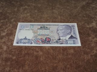 Turkey 1000 Lira,  L.  1970 (1986),  P - 196,  Unc photo