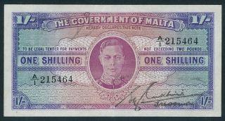 1940 The Government Of Malta King George Vi 1 Shilling Banknote A/1 Aunc Error photo