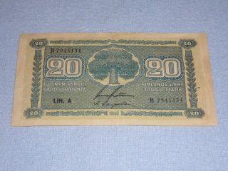 20 Markka Finland 1945 Banknote photo