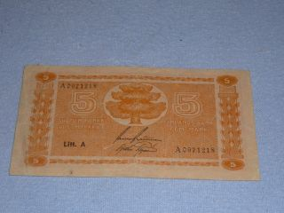 5 Markka Finland 1945 Banknote photo