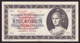 Czechoslovakia - 100 Korun,  16.  5.  1945 - Xf - Vf photo
