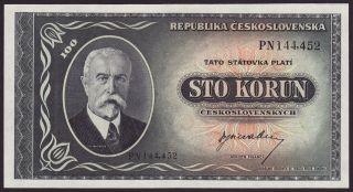 Czechoslovakia - 100 Korun,  Nd (1945) - Unc photo
