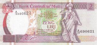 2 Liri From Malta 1967.  Extra Fine - Aunc Crispy Note photo