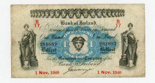 Ireland Northern … P - 55a … 1 Pound … 1940 … Vg - F photo