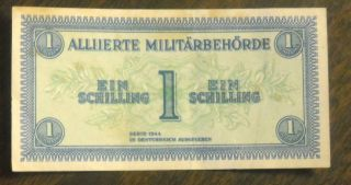 Series 1944 Austria Military Payment Certificate - One Schilling Banknote photo
