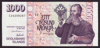 Iceland - 1000 Kronur,  2001 - Serie E - Unc photo