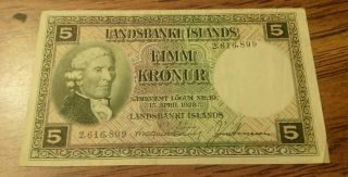 Iceland,  5 Kr 1928 Circulated Banknot.  Vf photo