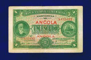Angola Banknote Chamiço 1$00 Escudo 1921 Pic55 Fine,  Avf photo