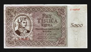 Croatia Banknote 5000 Kuna,  1943,  Design V.  Kirin photo
