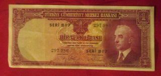 1930,  Turkiye Cumhuriyet Merkez Bankasi 1 Turk Lirasi Cu Bank Note Seri B17 photo
