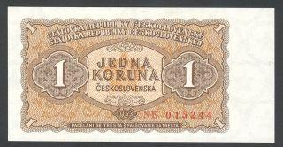 Czechoslovakia - 1 Koruna Korun Československých 1953 Note Banknote P 78b (unc) photo