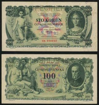 Currency 1931 Czechoslovakia 100 Korun Specimen Banknote P 23s President Masaryk photo