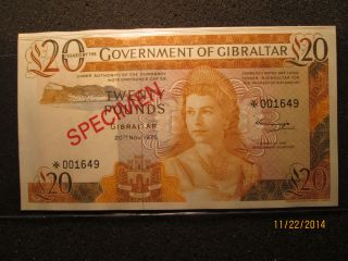Government Of Gibraltar 1975 Specimen,  Twenty Pounds Note Unc photo