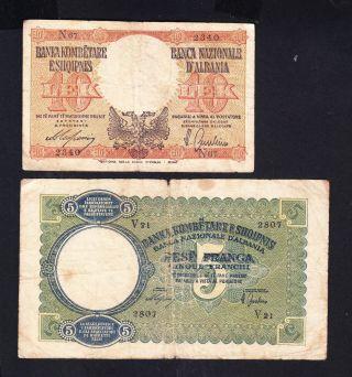 1939 Albania Paper Money,  5franga,  10leke.  Italy Occupation photo