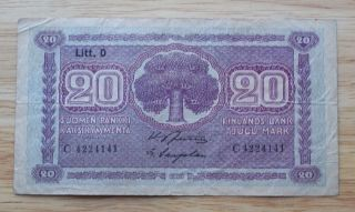 1939 Finland 20 Mark Banknote World Paper Money Currency photo